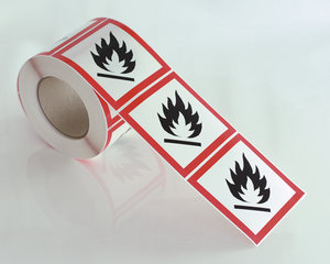 Fareetikett brandfarlig GHS 02-10x10 cm